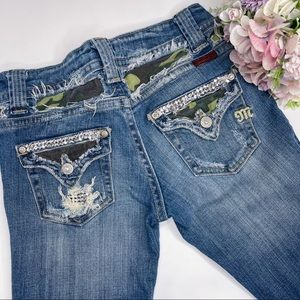 Miss Me Distressed Bootcut Camo Bling Jeans